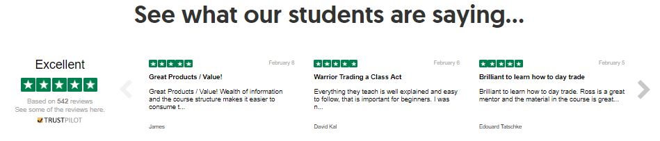Recent reviews left on TrustPilot about the warrior trading service